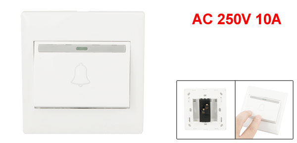 Home Office Luminous Strip AC 250V 10A Wall Mount Doorbell Switch Plate