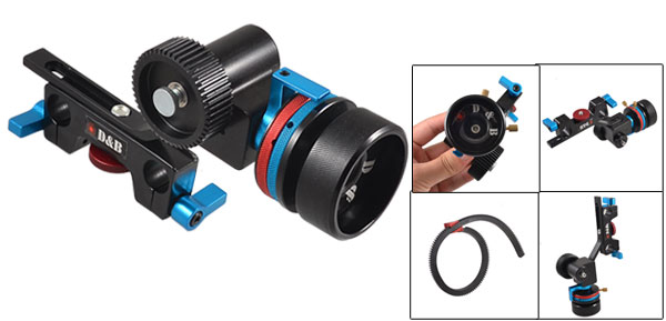 HDV DV DSLR Follow Focus w Gear Belt for 15mm Rod Support