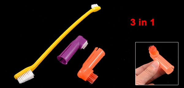 3 in 1 Kit Orange Yellow Dark Red Brush Finger Toothbrush for Pet Dog
