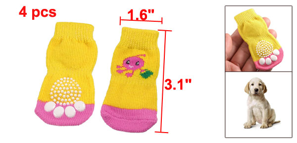4 Pcs Cartoon Pattern Pink Yellow Winter Socks for Pet Dog