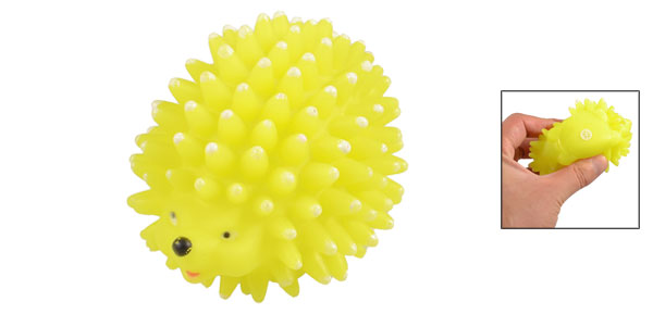 Yellow Vinyl Rubber Hedgehog Shaped Squeaky Chew Toy for Pet Dog