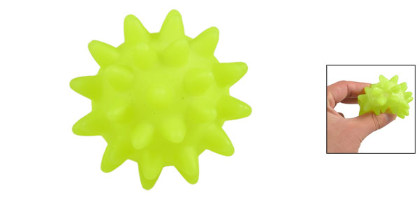 Yellow Green Textured Ball Shaped Squeaky Chew Toy for Pet Dog