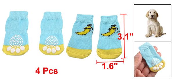 4 Pcs Banana Pattern Blue Yellow Winter Socks for Pet Dog