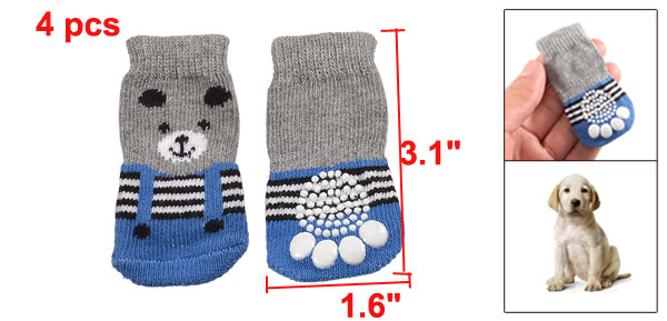 4 Pcs Panda Pattern Gray Blue Striped Winter Socks for Pet Dog
