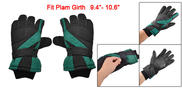 Man Skiing Snowboard Black Green Nylon Fleece Lining Sport Gloves Pair