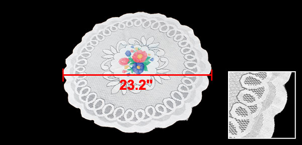 White Round Reusable Lace Style Table Desk Decor Flower Pattern Tablecloth