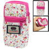 "Women 4.5"" Fuchsia White Flower Detail Zipper Closure Mobile Phon..."