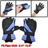 Man Skiing Snowboard Black Blue Nylon Fleece Lining Sport Gloves Pair
