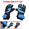 Woman Nylon Fleece Lining Full Finger Snow Sports Gloves Black Sky Blue Pair