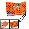 Women Dot Print Bowknot Decor Zip up Orange Red Plastic Wallet Pu...