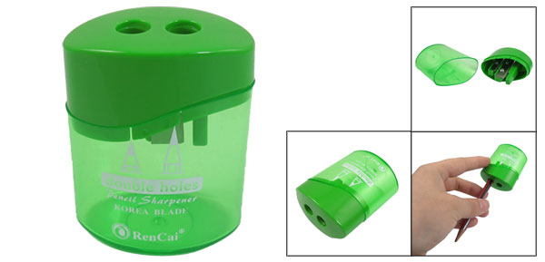 Green Clear Plastic Shell Cylindrical Double Hole Pencil Sharpener for Student