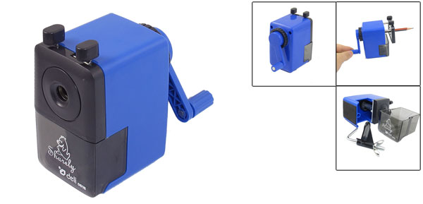 Blue Black Plastic Shell Manual Wave Operation Single Hole Pencil Sharpener
