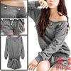 Ladies Gray Autumn Elastic Hem Loose Pullover Blouse w Gray Short...