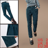 Low Rise Zip Fly Button Closure Womenwear Corduroy Dark Teal Pant...