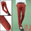 Brick Red Low Waistband Womenwear Concealed Zipper Side Cords Pants XS