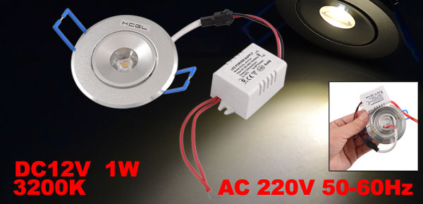 AC 220V 1W 3200K Warm White 1 LED Ceiling Down Light