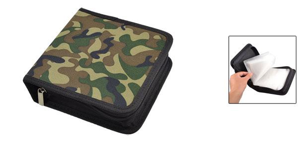 Camouflage Black Square Zip Closure CD Disc Holder Bag Organizer