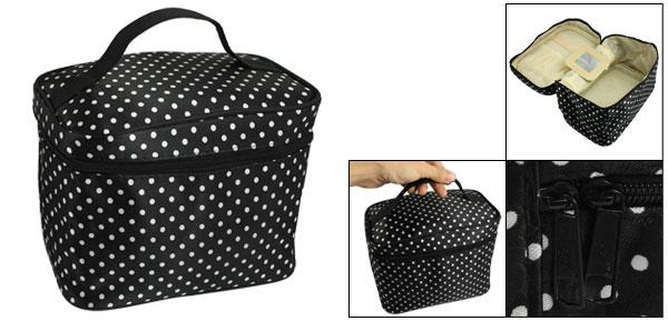 Lady Black Polryster Dots Print Zipper Cosmetic Makeup Bag