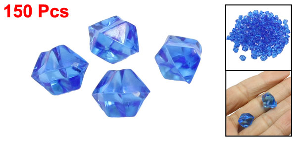 150 Pcs Blue Plastic Irregular Crystal Stone Fish Tank Ornament