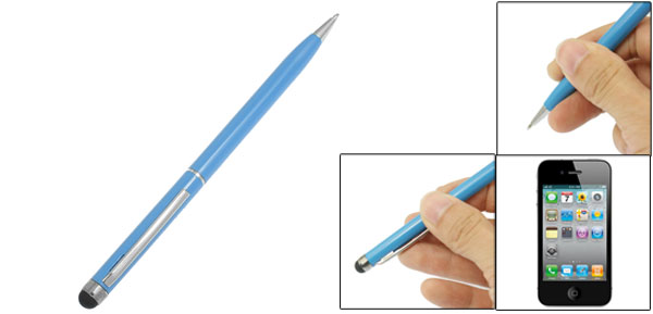 Capacitive Touch Screen Stylus Black Ink Ball Point Pen Teal Blue for iPad