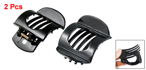 Plastic Hairpin Clamp Black Hair Claw Small Clips Barrette Ornament 2 Pcs