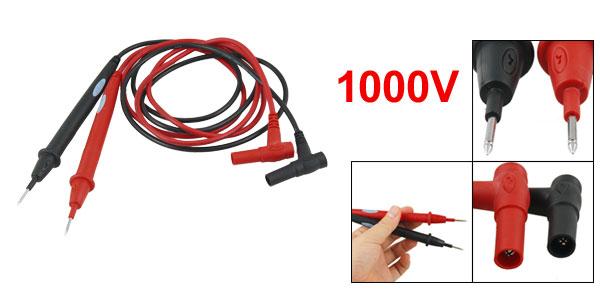 Digital 110cm Long Multimeter 1000V Test Lead Cable Probe Red Black 2 Pcs