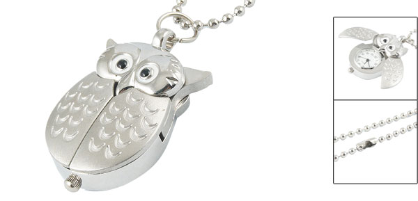 Silver Tone Owl Pendant Black Arabic Numbers Dial Necklace Quartz Watch for Ladies