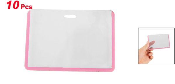 10 Pcs Office Pink Clear Horizontal ID Name Badge Card Holders