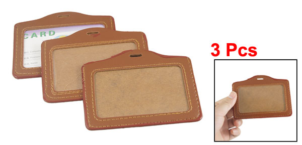 3 Pcs Faux Leather Plastic ID Name Work Card Holders Brwon Clear