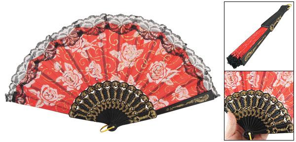 Black Lace Rim White Flower Pattern Red Terylene Fabric Hand Fan