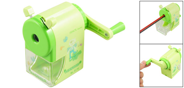 Cartoon Rabbit Butterflies Pattern Yellowgreen Plastic Shell Hand Rotating Pencil Sharpener