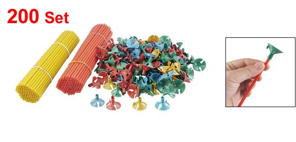 Party Plastic Favours Balloon Sticks Cups Decoration Assorted Color 200 Set