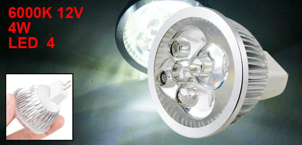 MR16 Base 4x1W LED Pure White Lamp Bulb Spotlight Downlight 6000K 12V