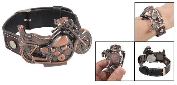 Men Black Faux Leather Belt Copper Tone Motorcycle Case Round Dial Watch