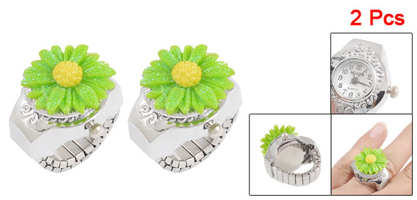 2x Women Arabic Numerals Round Dial Green Daisy Case Finger Ring Watch