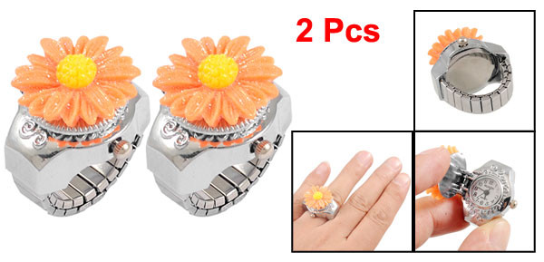 2 Pcs Woman Glitter Orange Daisy Hunter Case Stretch Band Finger Ring Watch