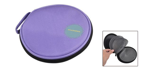 Purple Nylon 20 Pieces Capacity CD DVD Holder Storage Bag Case