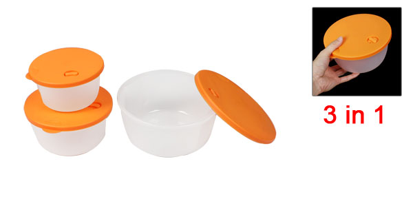 3 in 1 Plastic Round Shaped Preservation Keeping Fresh Box Orange Clear