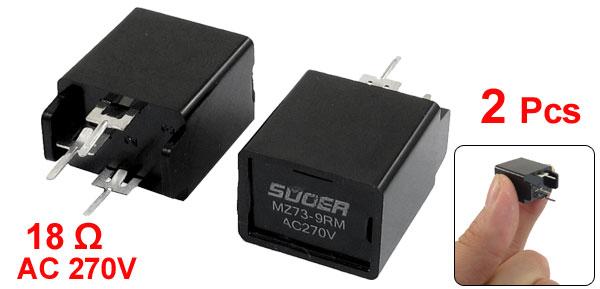 MZ73-9RM 18Ohm AC 270V 3 Pin Black Degaussing Resistor CRT 2Pcs