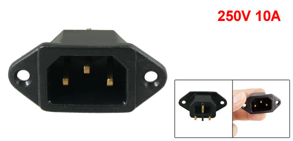 250V 10A C14 Male Power Inlet Socket Connector Black for Rice Cooker