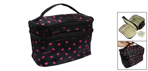Women Fuchsia Heart Pattern 2 Layer Cosmetic Handbag