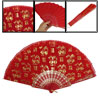 Plastic Frame Red Nylon Folding Fan for Chinese Dance