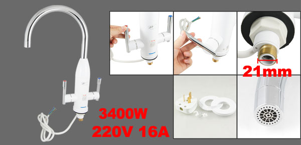 Kitchen 220V 16A 3400W Instant Electric Faucet Water Heater Cold Hot Mixer Tap