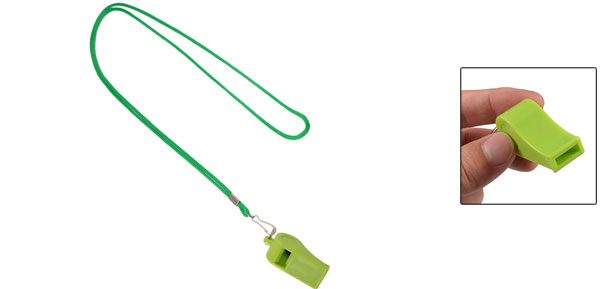 Sports Referee Game Green Lanyard Plastic Whistle Toy w Neck Strap