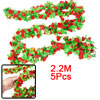 2.2M Long Emulational Ornament Green Leaf Fabric Flower Ivy Red 5...