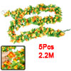 2.2M Length Simulation Ornament Fabric Flower Ivy Yellow Orange 5...