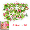 5 Pcs Green Leaf Magenta White Artificial 2.2M 7.2 Ft Fabric Rose...