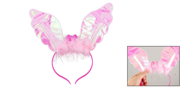 Children Halloween Tinsel Faux Feather Decor Flash Light Pink Red Bunny Ears Plastic Headband
