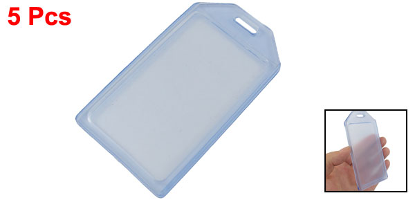 5 Pcs Soft Plastic Vertical Business ID Card Holder Clear Blue
