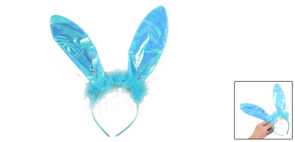 Children Costume Fancy Dress Party Rabbit Ear Design Plastic Hairband Blue